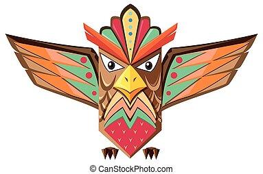 Totem pole shaped of an owl illustration