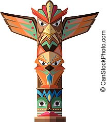 Totem pole with many animal craft illustration