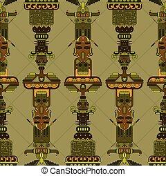 Aztec totem poles. Abstract mesoamerican aztec totem poles ...