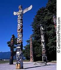 Totem Poles, Vancouver, Canada.