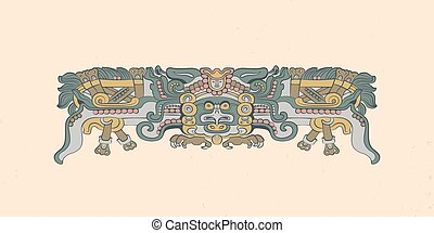 Totemic owl in flight Mayan graphic illustration. Vector...