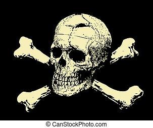 totenschädel, übel, zeichen, warnung, vector., bones.
