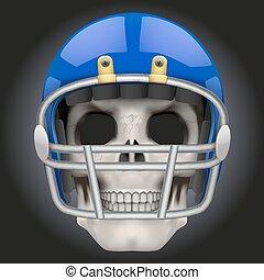 totenschädel, footballspieler, amerikanische , menschliche , helmet.