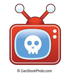 totenschädel, ikone, auf, retro, fernsehen