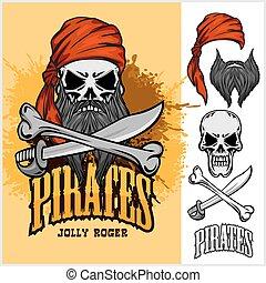 totenschädel, kreuz, rotes , schwert, stirnband, pirat, knochen