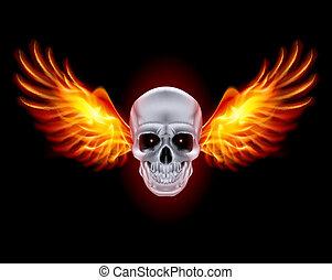 totenschädel, mit, feuer, wings.