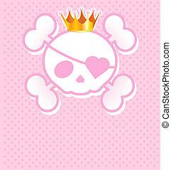 totenschädel, rosa, krone