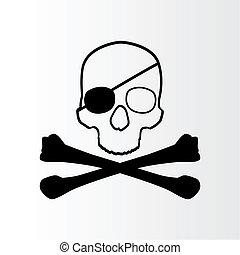 totenschädel, zeichen., lustiges roger, pirat, bones.