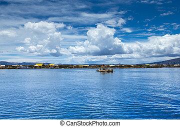 Totora boat on the Titicaca lake near Puno, Peru
