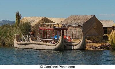 Totora Reed Boats At Uros Island, Lake Titicaca - Medium low...