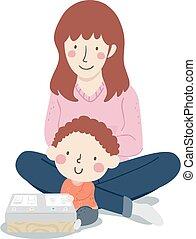 totyogó kisgyerek, csillogó fordít, anyu, fiú, kölyök, elfoglaltság