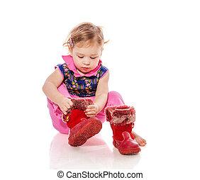 totyogó kisgyerek, feltétel, cipők