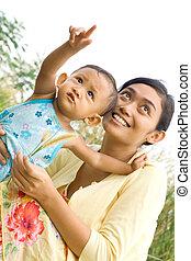 totyogó kisgyerek, játék, etnikai, anya