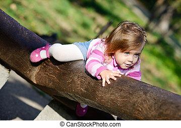 totyogó kisgyerek, mászó, képben látható, a, jár