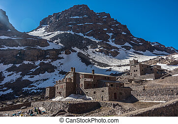 Toubkal national park in springtime with mount, cover by...