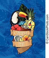 Toucan and cocktail - Vector illustration of toucan and...