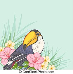Toucan and tropical flowers