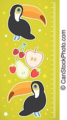 Toucan Bird and the apple pear strawberry cherry on green background Children height meter wall sticker. Vector