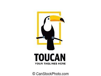 Toucan bird flat style vector logo
