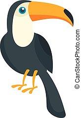 Toucan bird icon, flat style
