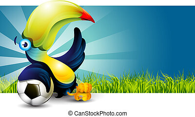 Toucan bird sitting on the grass and rests on a soccer ball