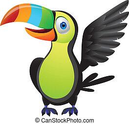 Toucan bird - Vector illustration of toucan bird, linear and...