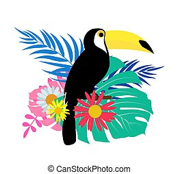 Toucan bird with palm leaves on white background. Vector Illustration