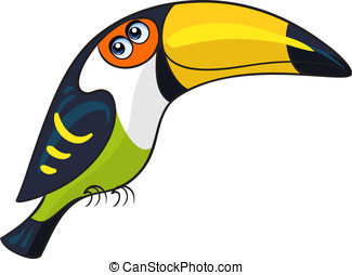 Toucan. Cartoon african wild animal