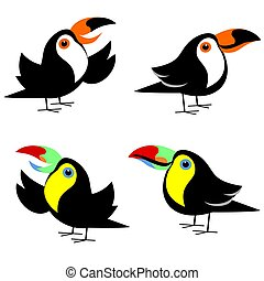 Toucan Clipart Set - Keel-billed and Toco toucan cartoon ...