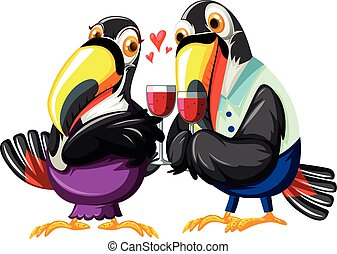 Toucan couples drinking wine