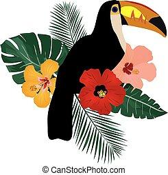 toucan - vector toucan bird with tropical flowers