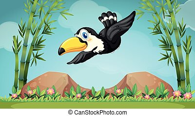 Toucan flying over the field