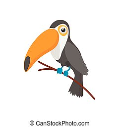 Toucan icon, cartoon style