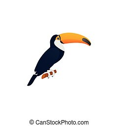 Toucan in flat design. Vector Illustration. Tropical bird.