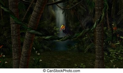 Toucan In The Jungle - Toucan sitting on a vine in the...