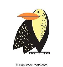 toucan jungle animal in cartoon abstract design