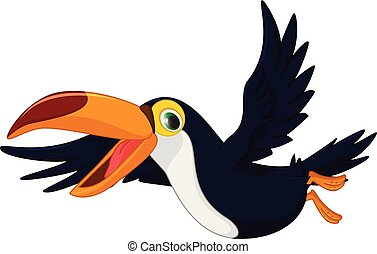 toucan, mignon, dessin animé, oiseau volant