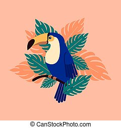 Toucan on a branch with palm leaves. Beautiful tropical bird in the leaves.