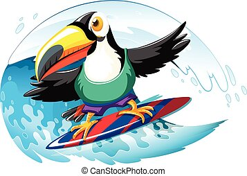 Toucan on surfboard in the giant wave illustration