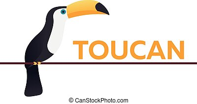Toucan on the branch. Animal. Bird. Vector flat illustration.