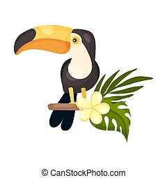 Toucan on the branch. Vector illustration on a white background.