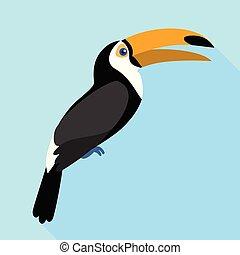 Toucan singing icon, flat style