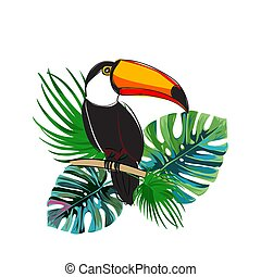 Toucan sitting on branch. Exotic bird with tropical leaves. Realistic illustration.