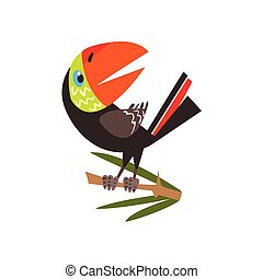 Toucan Sitting On Branch Flat Cartoon