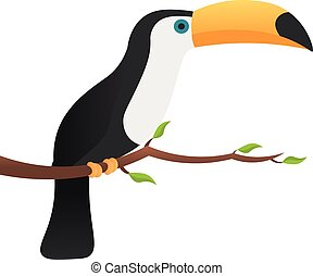 Toucan sitting on branch with leaves