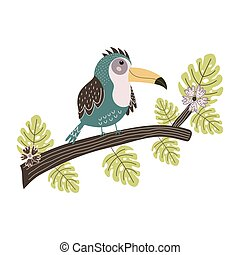 Toucan sitting on the branch. Cute tropical bird isolated element