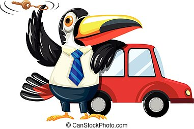 Toucan spinning carkey by the car illustration