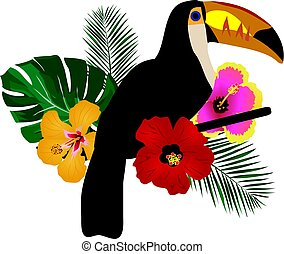 Toucan - toucan with tropical flowers background