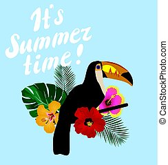 Toucan - vector tropical floral with toucan