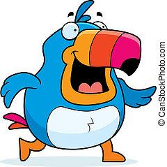 Toucan Walking - A happy cartoon toucan walking and smiling.